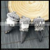 LFD-0050P ~ Wholesale White Snakeskin Ox Horn Pendants , Pave Rhinestone Crystal Charms Necklace Pendant Jewelry Making