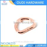 Rose gold new fashion metal D ring for handbags, D-ring, D buckle for bags, bag hardware