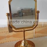 High end quality decorative stylish luxury antique gold square table mirror stand vanity mirror