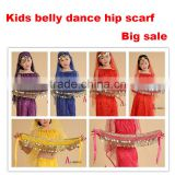 2016 New arrivals cheap children belly dance hip scarves belly dancing waist belts gold for kids on sale