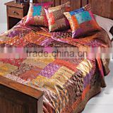 CHECKOUT~OUR GORGEOUS COLLECTION OF BROCADE SARI COLOUFUL INDIAN HOME DECORATIVE BEDSPREADS BEDLINEN