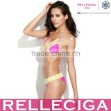 RELLECIGA 2014 New Pink Polka Dot Lace Triangle Bikini Top with Brazilian Cut Scrunch Back Butt