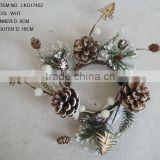 Christmas Decorations Artificial 8CM PINECONE WITH WHITE SNOW CANDLE RING Table decorations