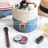 New Arrival Barrel Shaped Travel Cosmetic Bag Nylon High Capacity Drawstring Elegant Drum Wash Bags Makeup