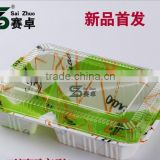 1200ml Big volume eco-friendly thickness embossing disposable 3 compartment plastic bento box/lunch box/food container