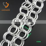3.2mm double row silver chain with curved line 27mm