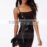 latest nigth club dress design sexy paillette fabric black backless tight-fitting dress ladies