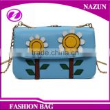 2016 Wholesale OEM Versatile Well Design Nice Womens Super Cute Sunflower Cover Hasp Blue Solid Color Crossbody Shoulder Bag