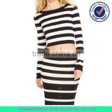 Striped cropped knitted pullover,chic black and white lady skirt,ladies suit design