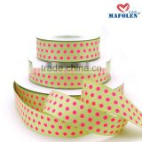 Ribbon factory in china personalized high quality polka dot elegant christmas satin ribbon yellow