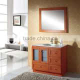Brown Color Single Basin Bathroom Vanity with Glass Doors
