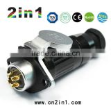 Factory Low Price Male and Femal Connectors, HK20 IP65 Rating , 4 pin Plastic Waterproof Connector with Bayonet type