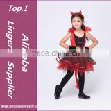 HOT 3 Piece Set Baby Girl Fancy Red Devil Dress New Halloween Carnival Kids Cosplay Costume Naughty Little Demon Party Dress XL
