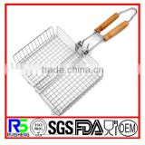 Stainless Steel Demountable Vegetable Grilling Basket With Wooden Handle,Folding Meat Grill Basket