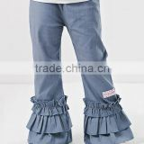 2016 Newest Girls Trousers With Chambray Girls Ruffle Pants Children Clothing PT90420-49