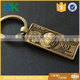 Custom metal alloy imitation dollar key chain travel commemorative small gift coin key chain