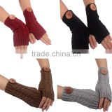 NEW Women Fingerless Gloves Arm Warmer Long Winter Mittens Knitted Women's Crochet Knitted