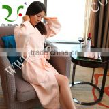 100% cotton sexy light color women breathable waffle bathrobe