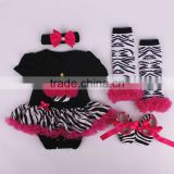 Baby Girls Black Red Zebra Bodysuit Pettiskirt and Headband and shoes Set NB-12M