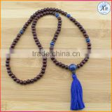 XP-PN-1478 Yiwu wholesale gemstone 8mm wood brown mala beads necklace wooden beads tassel necklace
