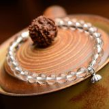 Natural white crystal bracelet 6mm crystal beads bracelets single ring South Korea fashion women