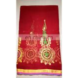 Women's Designer Maroon Wedding Wear Embroidered Resham Work Georgette Sari Bridal Saree Party Wear Dress