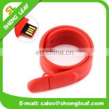 Red Silicone Slap Band 8GB USB Flash Drive wristband
