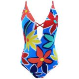 Front deep v sexy swimsuit floral soft padded bathing suit women\'s one piece swimwear