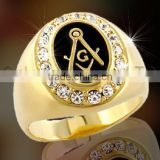 masonic ring with black enamel and AAA CZ setting gold plated shiny polished 925 sterling silver or brass signet ring