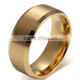 European and China manufacturers wholesale flat matte titanium steel plated 18K gold ring wholesale high end wedding ring