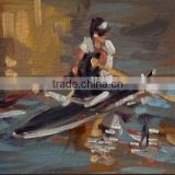 Hot seller 100% sastisfaction a man is rowwing a boat handmade abstact oil art paintings seascape