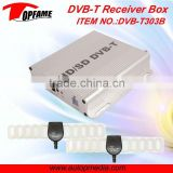 DVB-T303B Car DVB-T TV receiver box with dual antenna HD MPEG4 1080P support speed 180-220km/h