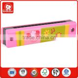 top 100 alibaba china loveliness beauty pink small girl's mouth organ sheep flower design MDF material cheap harmonica prices