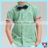 short sleeve shirts kid garment fashion formal cotten collar children bow-tie gentlemen boy shirt kid clothes