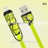 2 in 1 Universal Dual 8 pin / Micro USB Charging Cord & Data flat Cable for Android and IOS for Apple