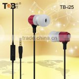2015 China market of electronic high quality comfortable in-ear flat cable metal earhphone with mic for mobile phone/ mp3 player
