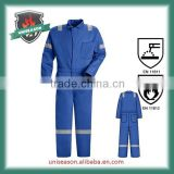 safety fr 100% cotton blue work coveralls