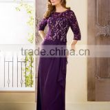 Three Quarter Sleeve Evening Dress 2015 Long Party Dress Lace Mother Of The Bride Dress Purple Prom Dress XP-60