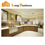 LB-JL1159 Customized MDF timber veneer finish kitchen cabinet, natural wood color kitchen cabinets with handles