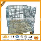 Galvanized foldable rectangular steel wire mesh pallet cage