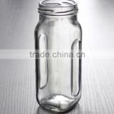 wholesale small cheap square clear glass canning jar for jam food