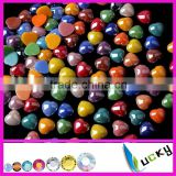 Wholesale mix color flat back HEART shape CERAMIC beads shiny beads for PHONNE decoration