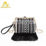 Hot Sale Fashion Tassel Black Handbag Patchwork Boho Shoulder Bag Wholesale China Factory
