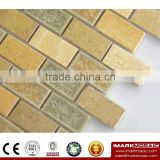 Imark Subway Glazed Crackle Porcelain Mix Yellow Travertine Marble Stone Mosaic Tile For Backsplash Tile Code IXCS-023