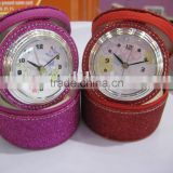 Travel alarm clock with shining color leather cosmetic pocket
