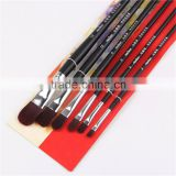 Top Craft Tools 6PCS University Basics Paint Brushes Wooden Long Handle Watercolor Oil Acrylic Painting Brush Artist