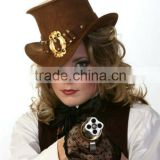 BULL-HIDE LEATHER STEAM PUNK TOP HATS FOR WOMEN