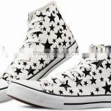 Star printed canvas upper rubber sole high top vulcanized sneaker cheap basic women casual china canvas shoe woman shoes 2016