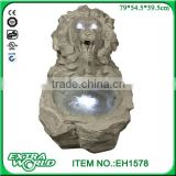 resin led garden lion head stone finish water fountain decoration