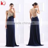 Sexy Fashion Blue Vintage Beauty Sequined Evening Gown And Floor-Length Chiffon Lace Evening Dress With Beading Pleated